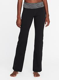 Mid-Rise Wide-Leg Roll-Over Yoga Pants for Women