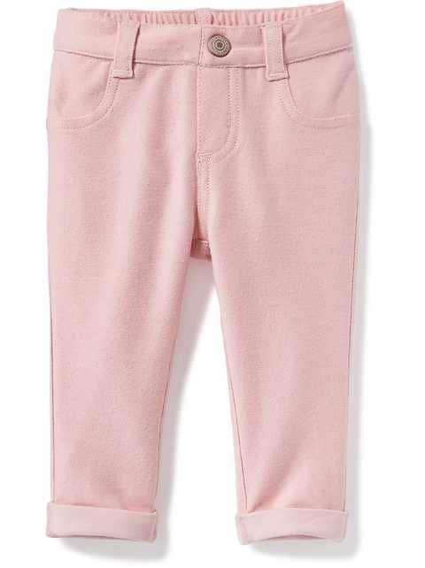 Rolled-Cuff French-Terry Jeggings for Baby