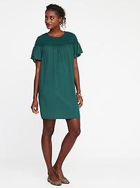 Crochet-Lace-Yoke Shift Dress for Women
