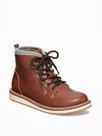 Faux-Leather Lace-Up Ankle Boots for Boys