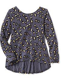 Haut en jersey à imprimé à ourlet asymétrique pour fille