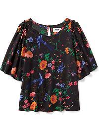 Floral Flutter-Sleeve Top for Girls