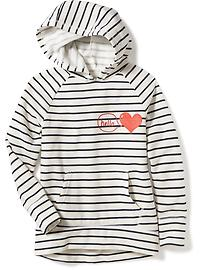 Graphic Striped Pullover Hoodie for Girls