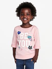 Chandail en jersey bouclette à imprimé «Be You» pour toute-petite