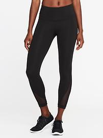High-Rise Mesh-Trim 7/8-Length Leggings for Women