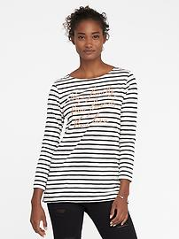 Relaxed Glitter-Graphic Mariner-Stripe Tee for Women