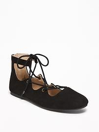 Metallic Lace-Up Ballet Flats for Girls