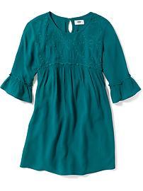 Empire-Waist Crinkle-Gauze Dress for Girls