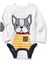 Dog-Graphic Bodysuit for Baby