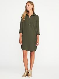 Twill Button-Front Shirt Dress for Women