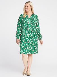 Plus-Size Pintuck Swing Dress