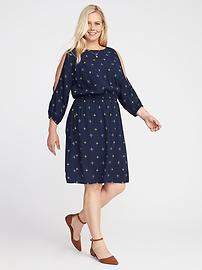 Plus-Size Cold-Shoulder Cinched-Waist Dress