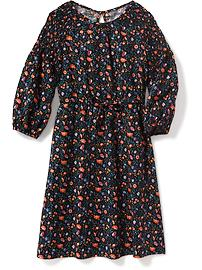 Cinched-Waist Floral Dress for Girls