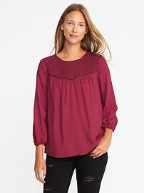 Relaxed Lace-Yoke Top for Women