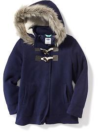 Manteau à capuchon en tricot de molleton avec boutons en bâtonnet pour fille
