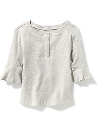 Bell-Sleeve Henley for Toddler Girls