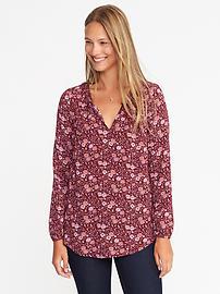 Split-Neck Floral-Print Blouse for Women