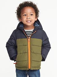 Color-Blocked Frost-Free Hooded Jacket for Toddler Boys