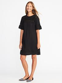 Slub-Weave Lace-Trim Shift Dress for Women