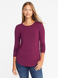 Luxe Curved-Hem Crew-Neck Tee for Women