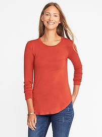 T-shirt luxueux à encolure ras du cou avec ourlet arrondi pour femme