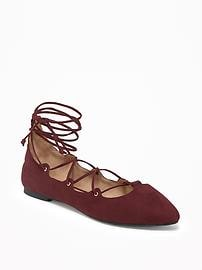 Sueded Lace-Up Ghillie Flats for Women