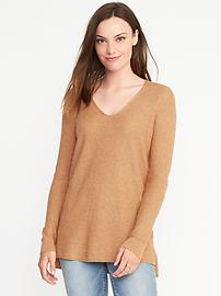 Relaxed Textured V-Neck Sweater for Women