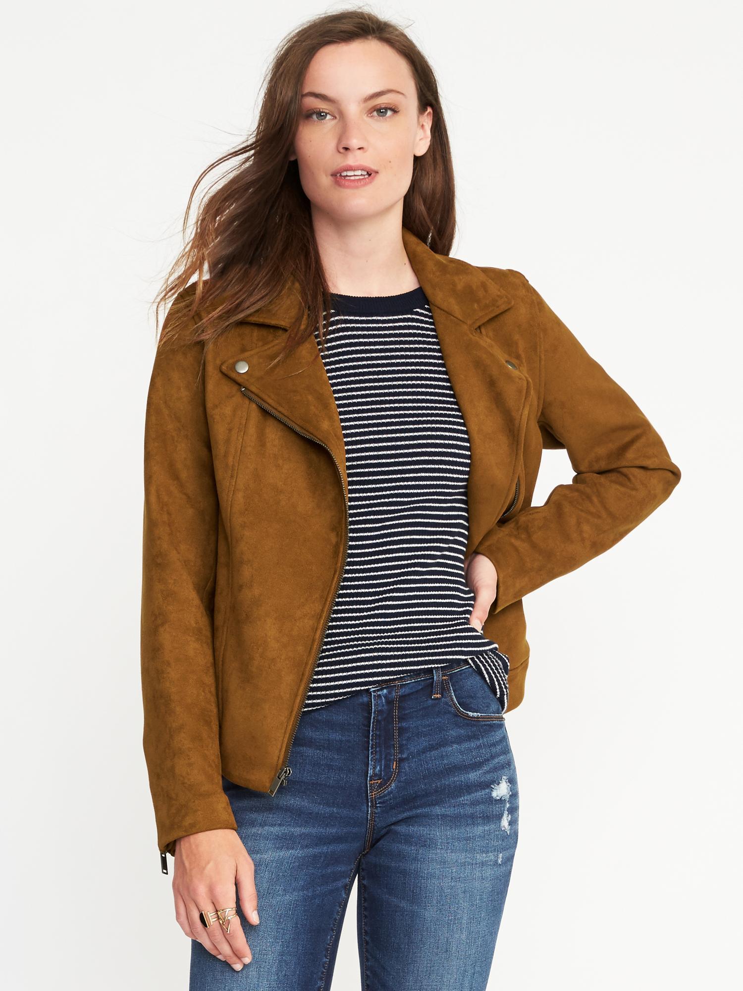 dba5696eb24 Sueded-Knit Moto Jacket for Women
