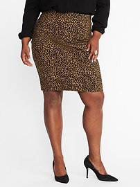Smooth & Slim Plus-Size Leopard Ponte Skirt