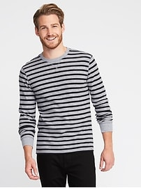 Striped Soft-Washed Built-In Flex Thermal Tee for Men
