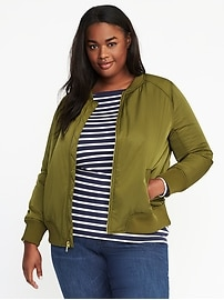 Plus-Size Nylon Bomber Jacket