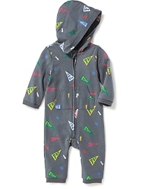 Pennant-Print Hooded One-Piece for Baby