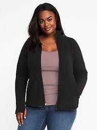 Plus-Size Micro Fleece Full-Zip Jacket