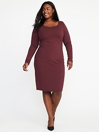 Ponte-Knit Plus-Size Bodycon Sculpt Dress