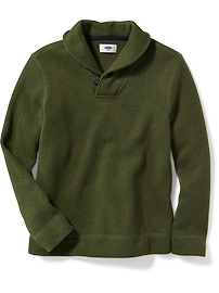 Shawl-Collar Sweater-Knit Fleece Pullover for Boys