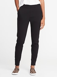 Mid-Rise Double-Knit Track Trousers for Women