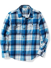 Built-In Flex Flannel Double-Pocket Shirt for Boys