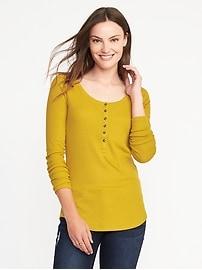 Henley coupe étroite en tricot côtelé pour femme