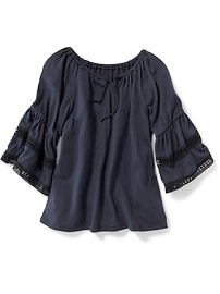 Crinkle-Jersey Bell-Sleeve Top for Girls