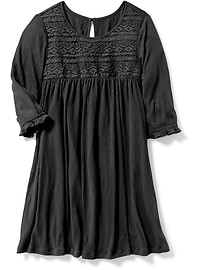 Lace-Trim Crinkle-Jersey Swing Dress for Girls