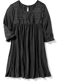 Robe évasée en jersey froissé avec garniture en dentelle pour fille