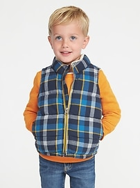 Plaid Sherpa-Lined Quilted Vest for Toddler Boys