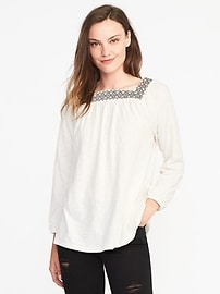Relaxed Embroidered Peasant Top for Women