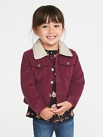Corduroy Sherpa-Lined Jacket for Toddler Girls