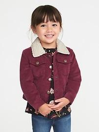 Veste en velours côtelé doublée en sherpa pour toute-petite fille
