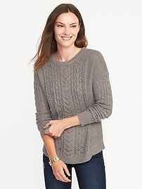 Relaxed Cable-Knit Sweater for Women