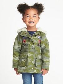 Veste à capuchon à imprimé camouflage pour toute-petite fille