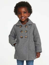 Double-Breasted Wool-Blend Coat for Toddler Girls