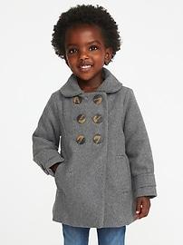 Manteau croisé en mélange de laine pour toute-petite fille