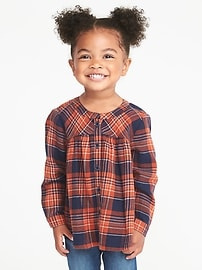 Patterned Flannel Tunic for Toddler Girls